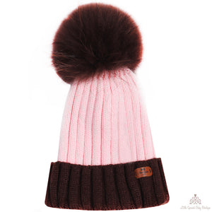 Fur Pom Pom Hat Pink & Brown
