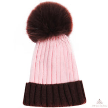 Load image into Gallery viewer, Fur Pom Pom Hat Pink & Brown