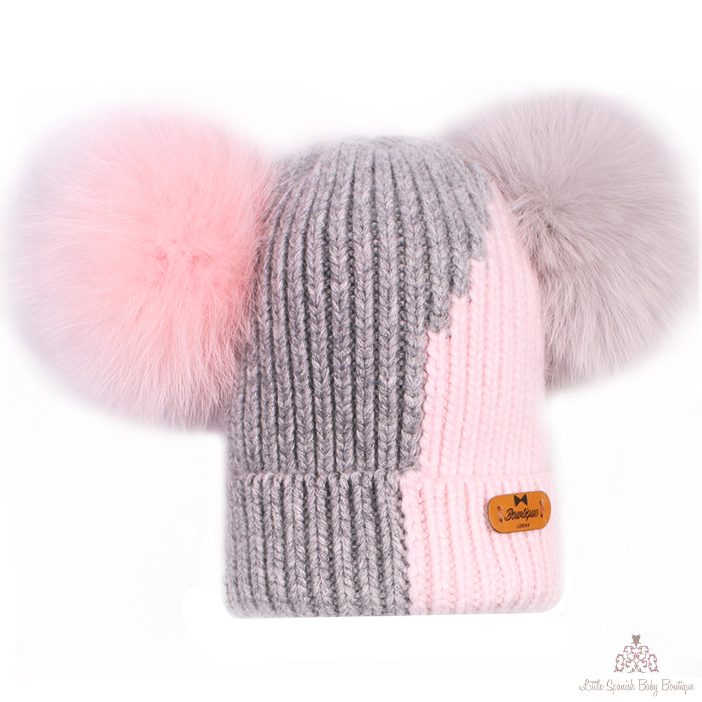 Fur Pom Pom Hat And Scarf Grey Sold Separately – little spanish baby ... 40d502a0c28