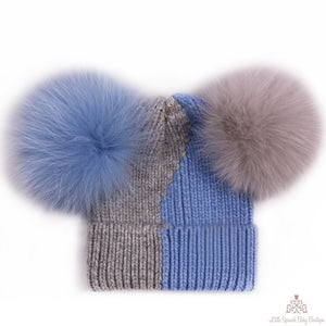 Fur Pom Pom Hat Blue & Grey