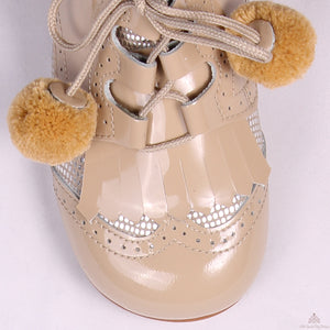 Bambi Pom Pom Shoes Camel