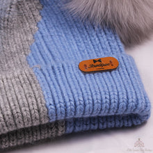 Load image into Gallery viewer, Fur Pom Pom Hat Blue & Grey