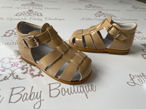 Pretty Originals Boys Tan Patent Sandals