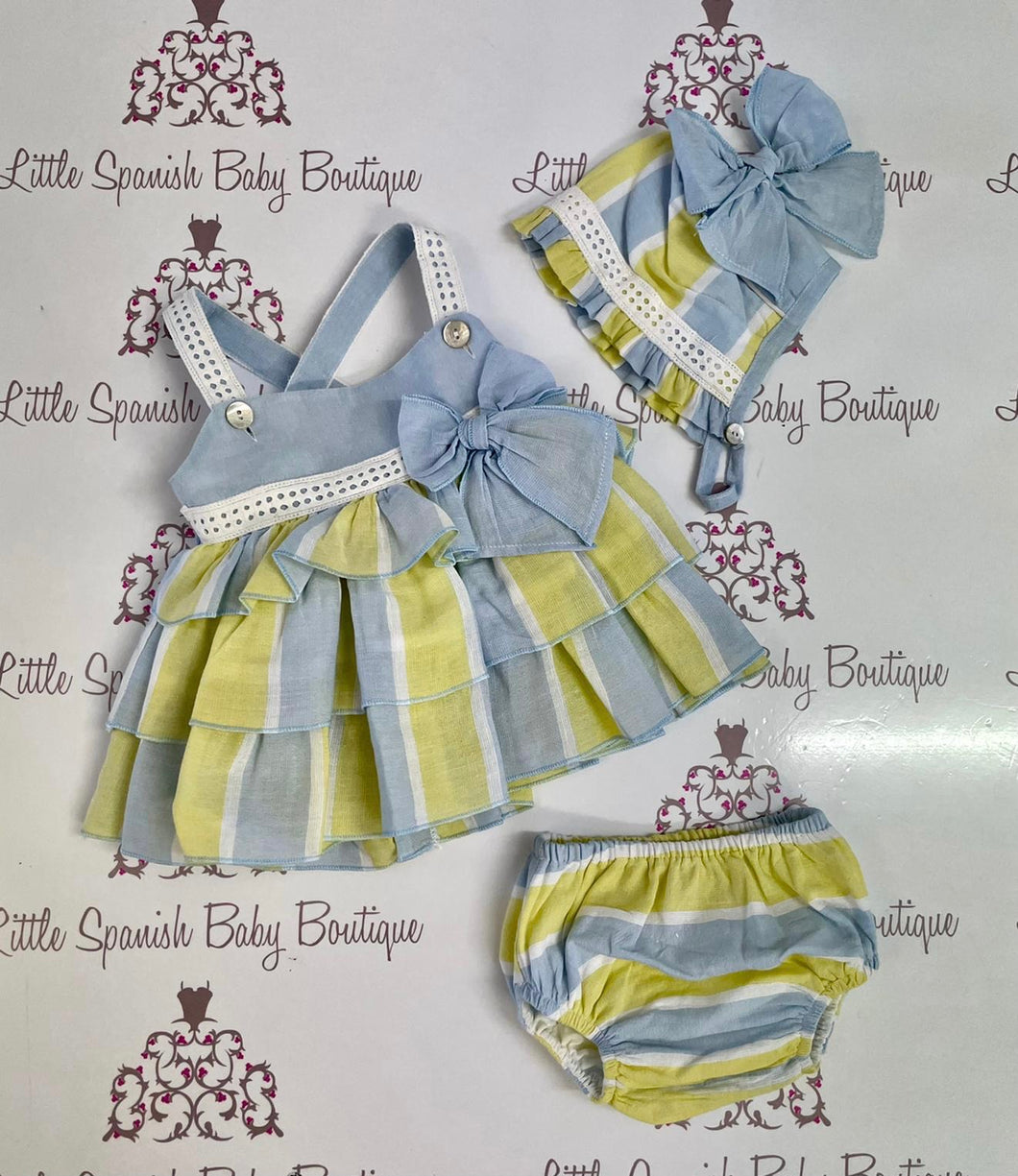 Dbb Yellow & Blue Dress Knickers & Bonnet