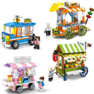 SEMBO 601101 ~ 601104 -- Mini Town Street View, Barbecue, Ice Cream, Sushi Dining Car - LOL Toys