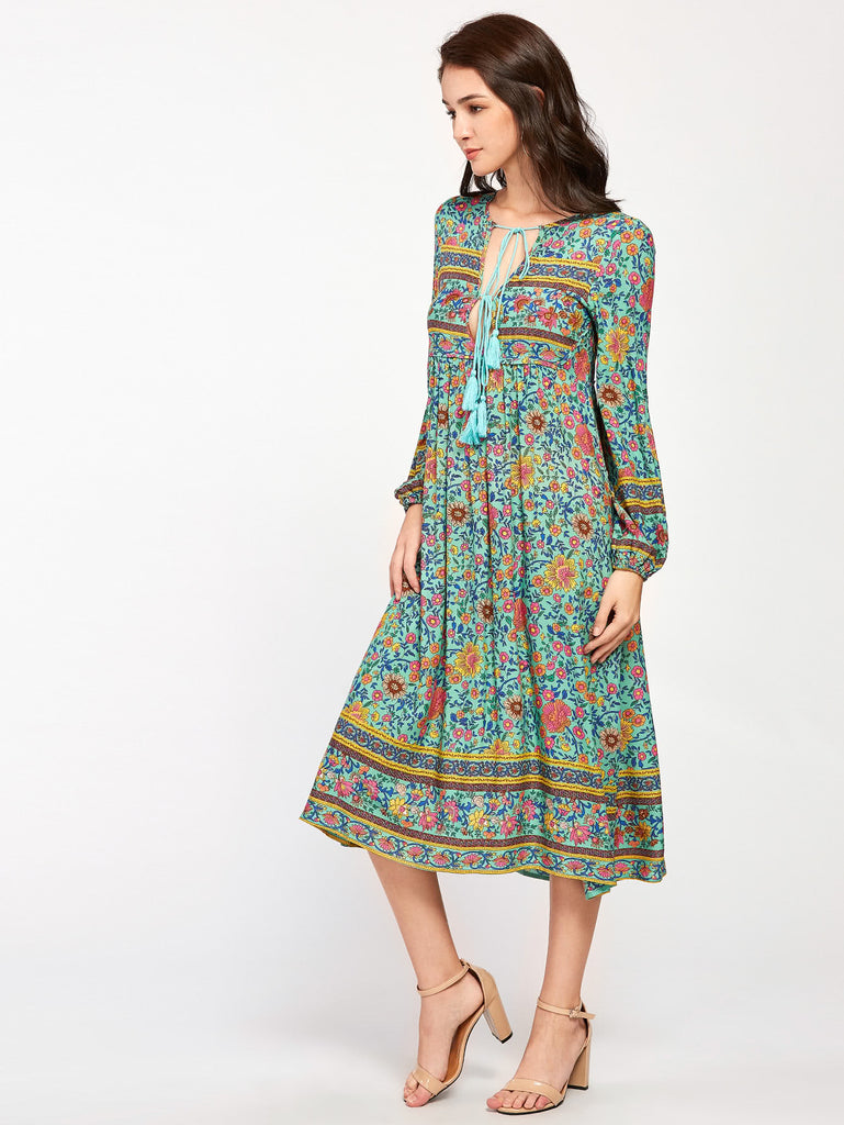 peasant bohemian boho green blue moroccan floral dress Perth Sydney Melbourne byron bay