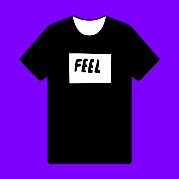 FEEL { Unisex Black/White Premium Music-inspired Graphic Print T-shirt }