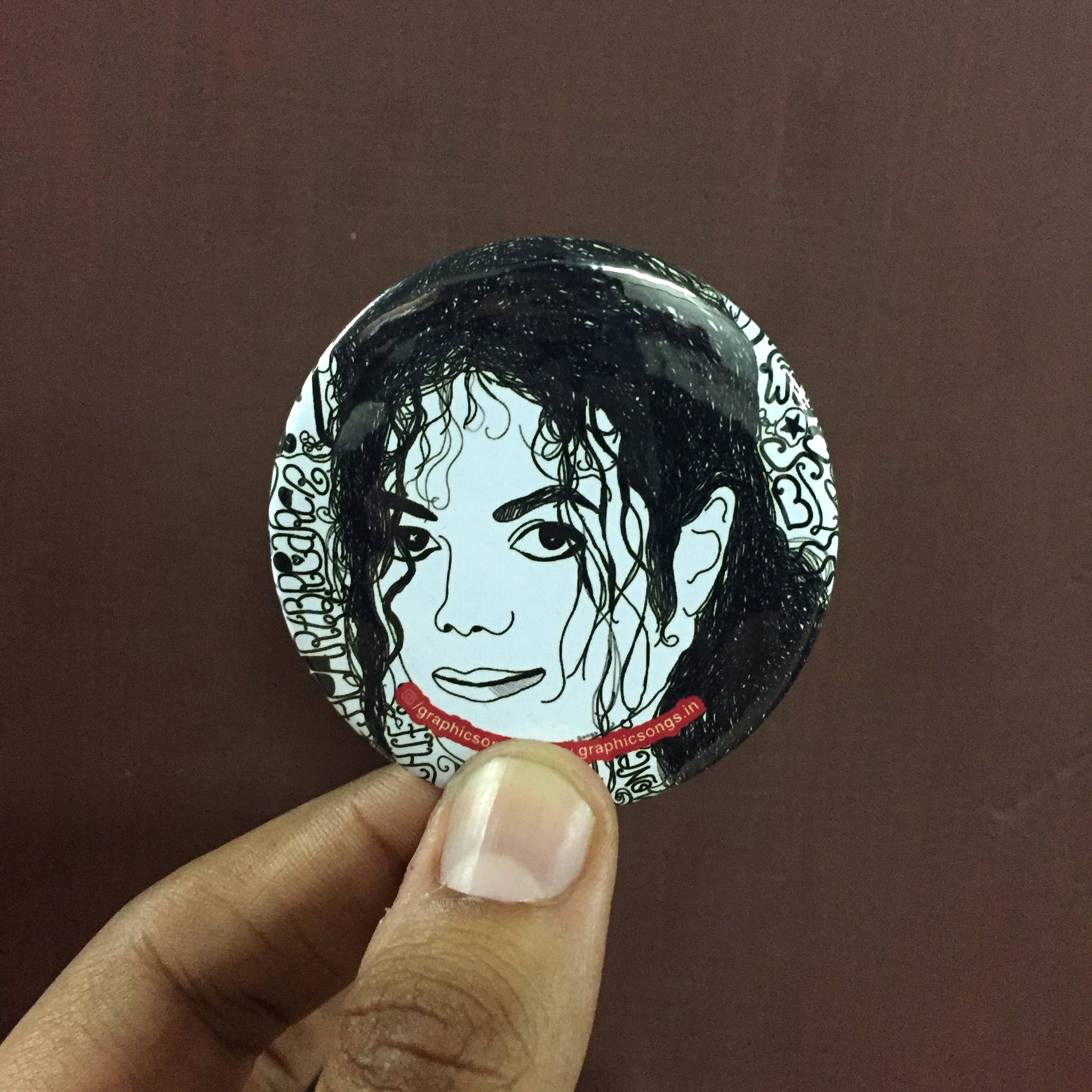 MJ { Premium Music-Inspired Button Badge | Set of 4 }