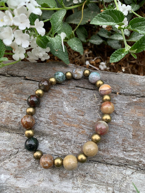 Gemstone stretch bracelet (Indian Agate)