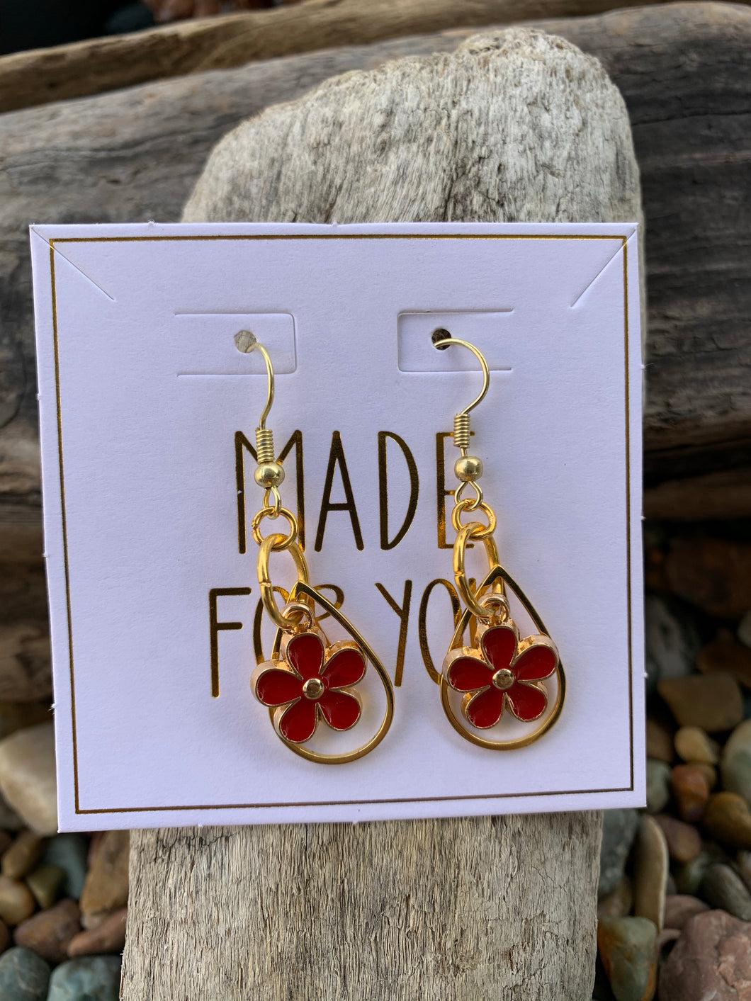 Red Hippie Flower Earrings