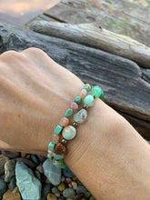Gemstone stretch bracelet set (Sunstone, Chrysoprase, and Turquoise)