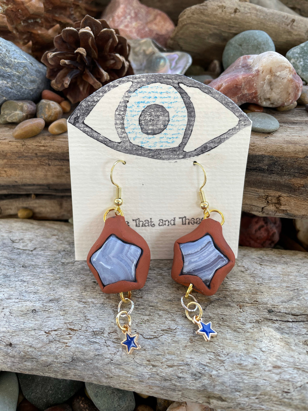 Blue Lace Agate Star Earrings