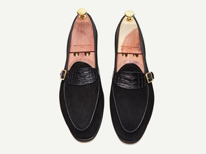 Sagan Classic Buckle in Black Asteria Suede and Alligator