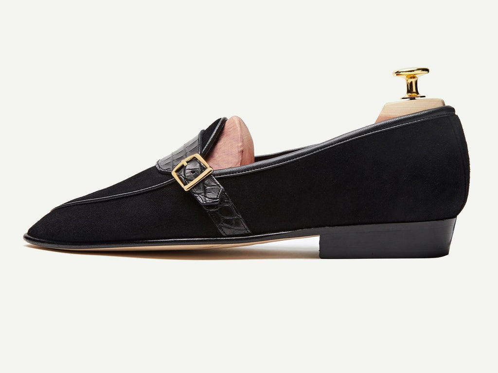 Sagan Classic Buckle in Black Asteria Suede and Alligator (4330501767245)