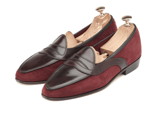 Sagan Classic Saddle in Burgundy Suede and Museum Calf