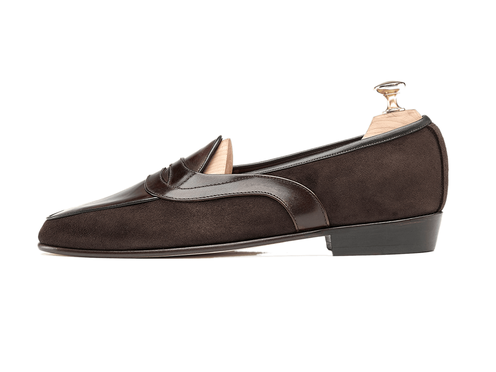 Sagan Classic Saddle in Dark Brown Suede and Museum Calf