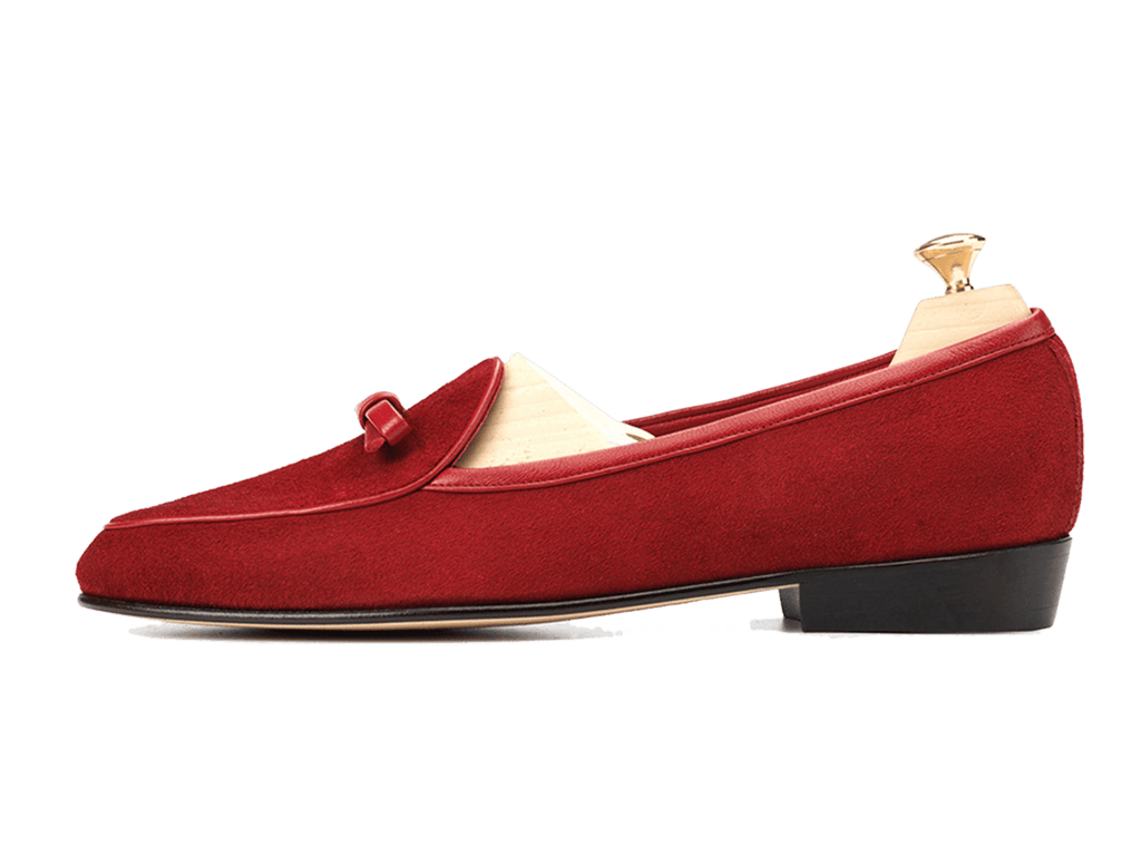 Sagan Classic Bow Loafers in Chaperon Red Asteria Suede (3603743211597)