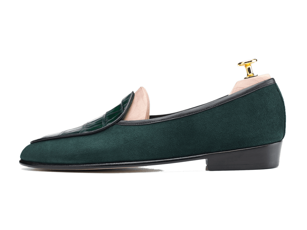 Sagan Classic Precious Leathers in Dartmouth Green Suede and Alligator (3603731710029)