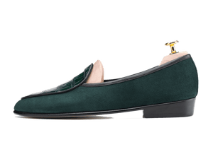 Sagan Classic Precious Leathers in Dartmouth Green Suede and Alligator