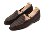 Sagan Classic Precious Leathers in Dark Brown Suede and Nubuck Alligator