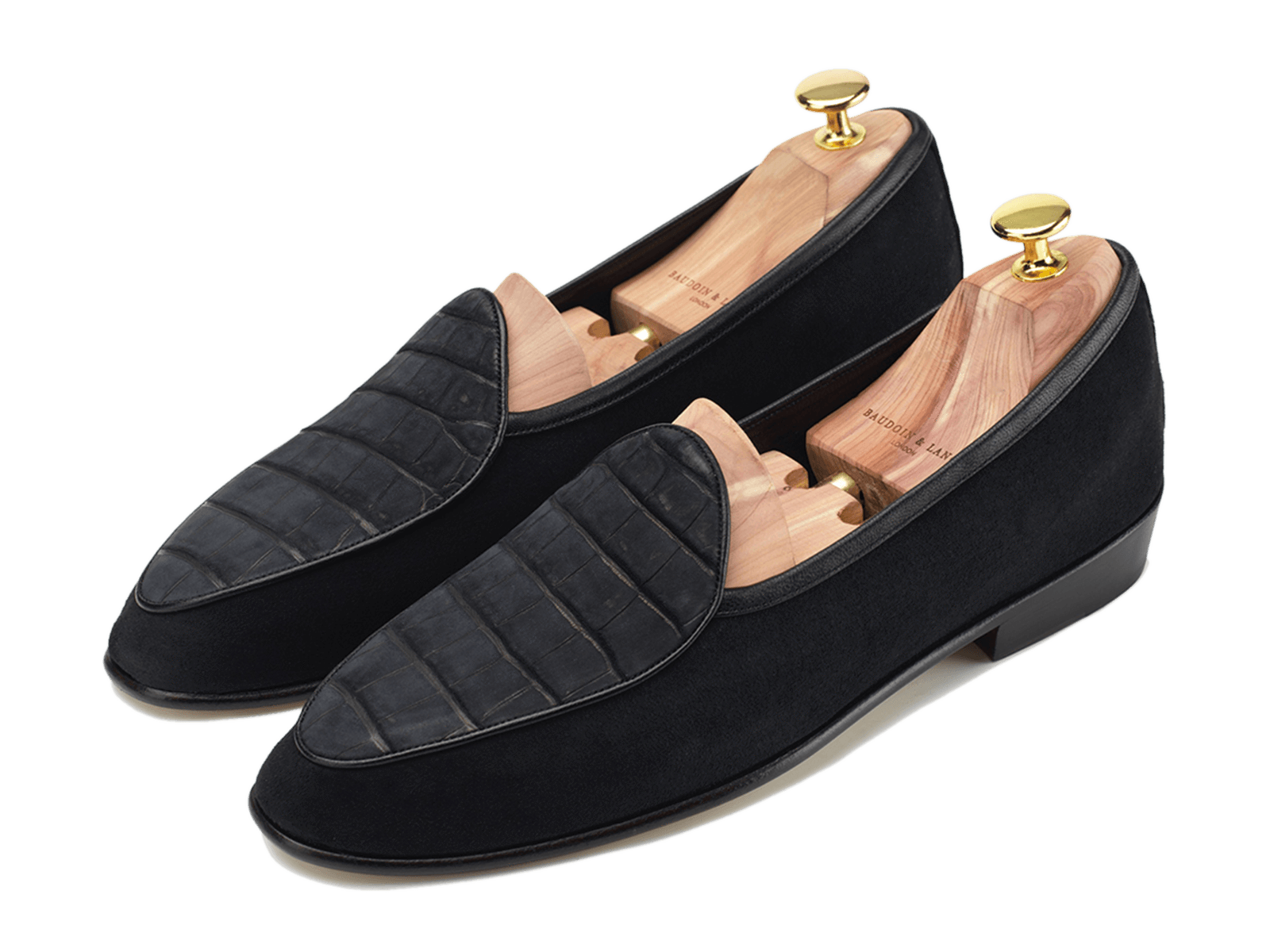 Sagan Classic Precious Leathers in Black Suede and Nubuck alligator