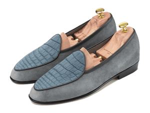 Sagan Classic Precious Leathers in Grey Suede and Nubuck Alligator