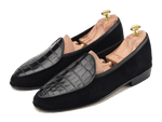 Sagan Classic Precious Leathers in Black Suede and Alligator