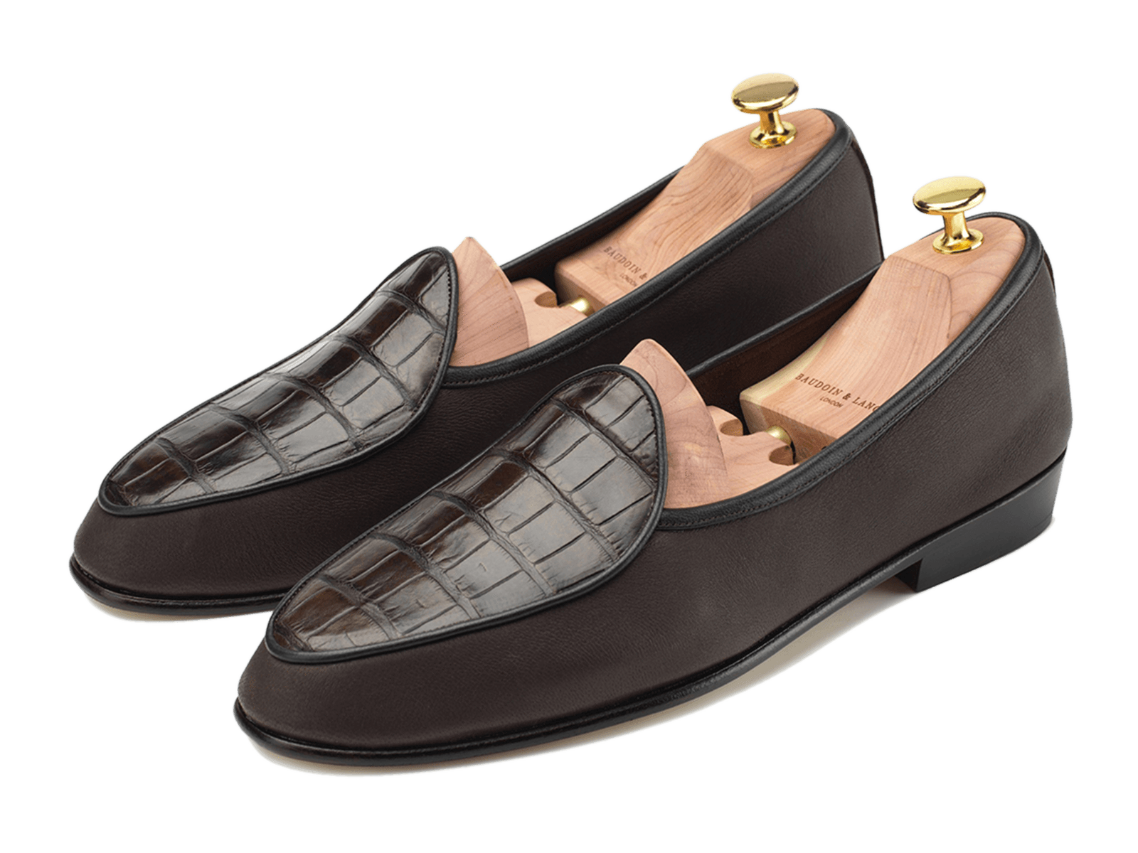 Sagan Classic Precious Leathers in Dark Brown Deerskin and Alligator