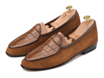 Sagan Classic Precious Leathers in Tobacco Suede and Tan Alligator