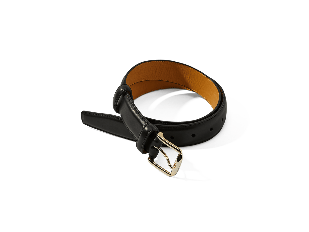 Sagan Belt Buckle in Black Marmo Calf with Pale Gold Buckle (4375607476301)
