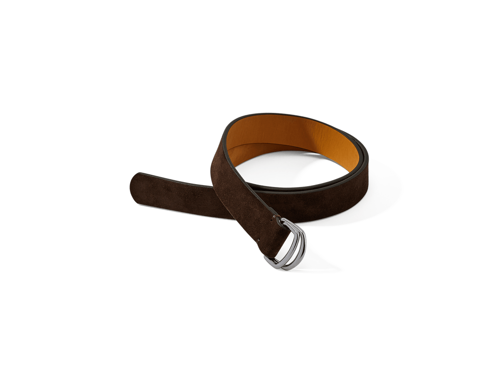 Sagan Belt Rings in Dark Brown Glove Suede with Silver Rings (4375607705677)