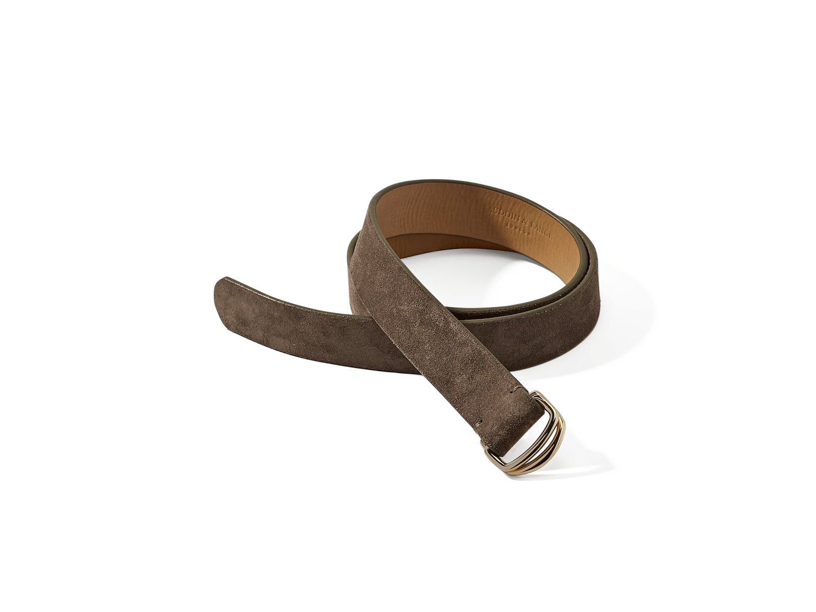 Sagan Belt Rings in Greige Glove Suede with Pale Gold Rings