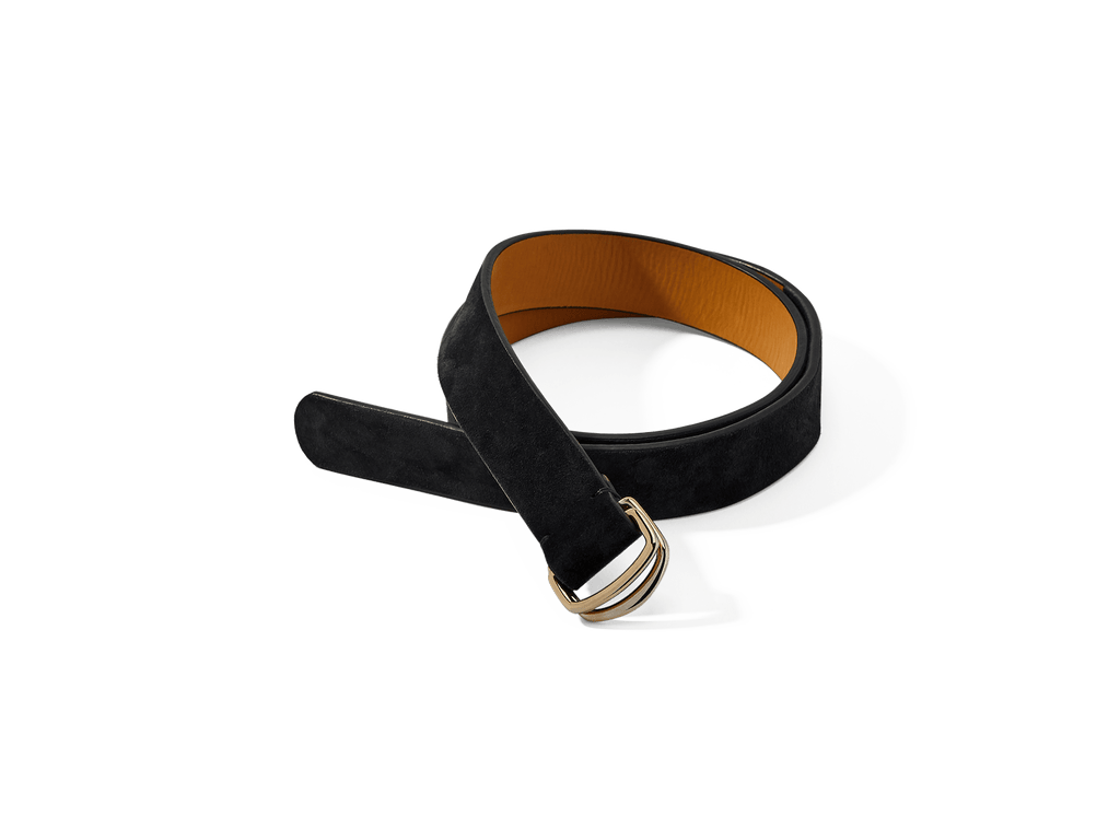 Sagan Belt Rings in Midnight Navy Glove Suede with Pale Gold Rings (4375607574605)