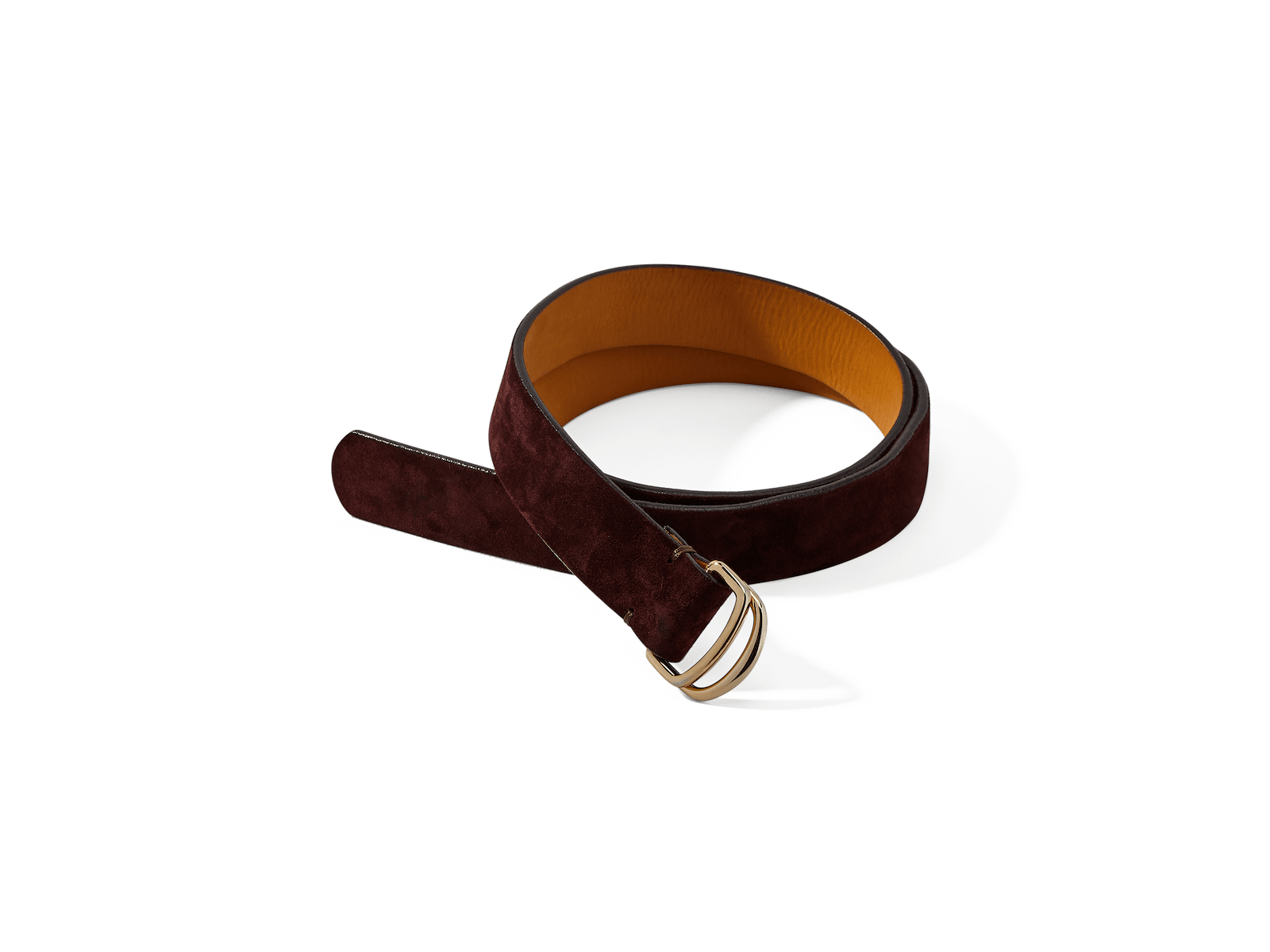 Sagan Belt Rings in Oxblood Glove Suede with Pale Gold Rings