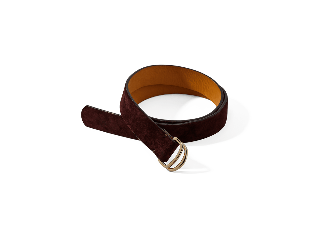 Sagan Belt Rings in Oxblood Glove Suede with Pale Gold Rings (4375607672909)
