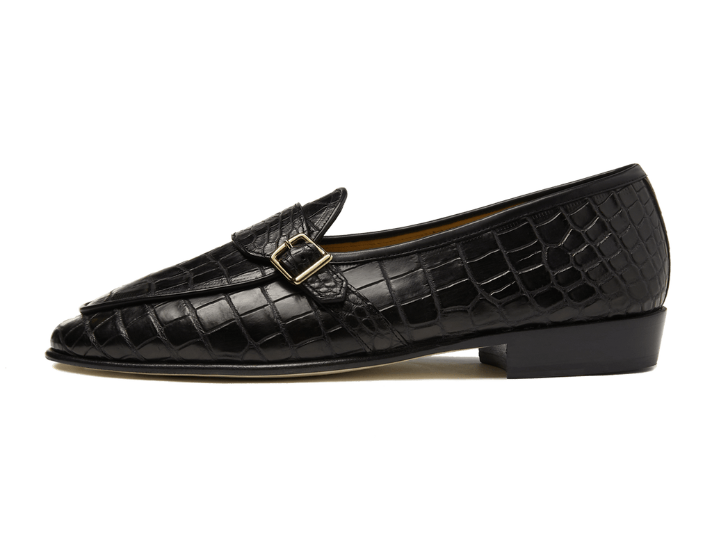 Sagan Buckle Precious Leathers in Obsidian Black Alligator
