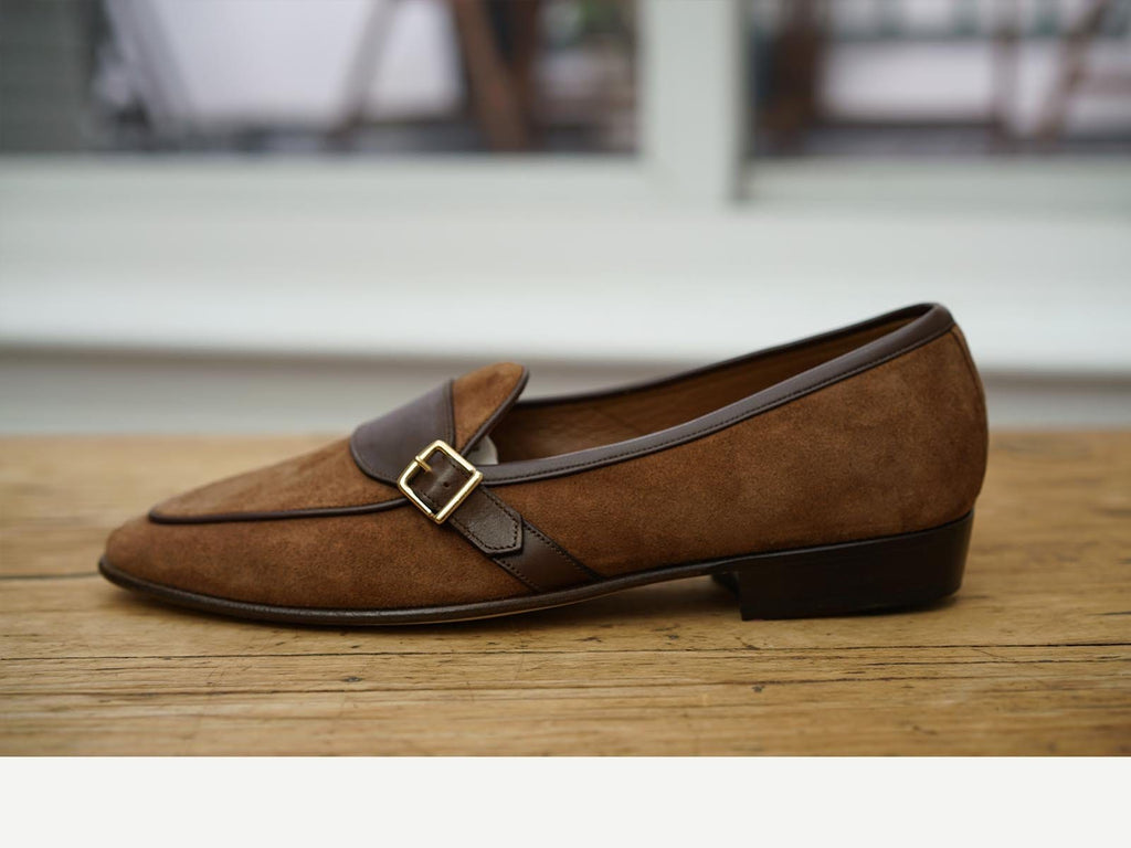 Sagan Classic Buckle in Tobacco Asteria Suede and Dark Brown Marmo Calf