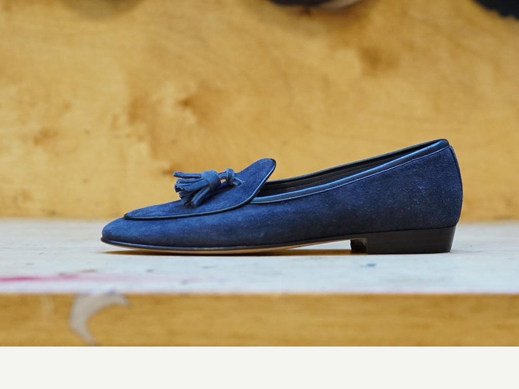 Sagan Classic Tassels in Navy Grey Asteria Suede (3634488311885)