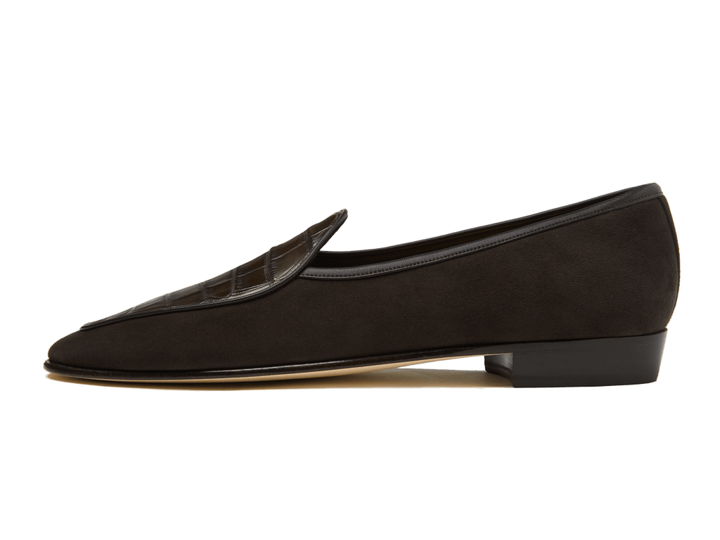 Sagan Classic Precious Leathers in Dark Brown Suede and Alligator