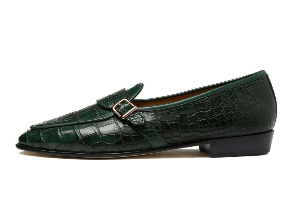Sagan Buckle Precious Leathers in Dartmouth Green Alligator