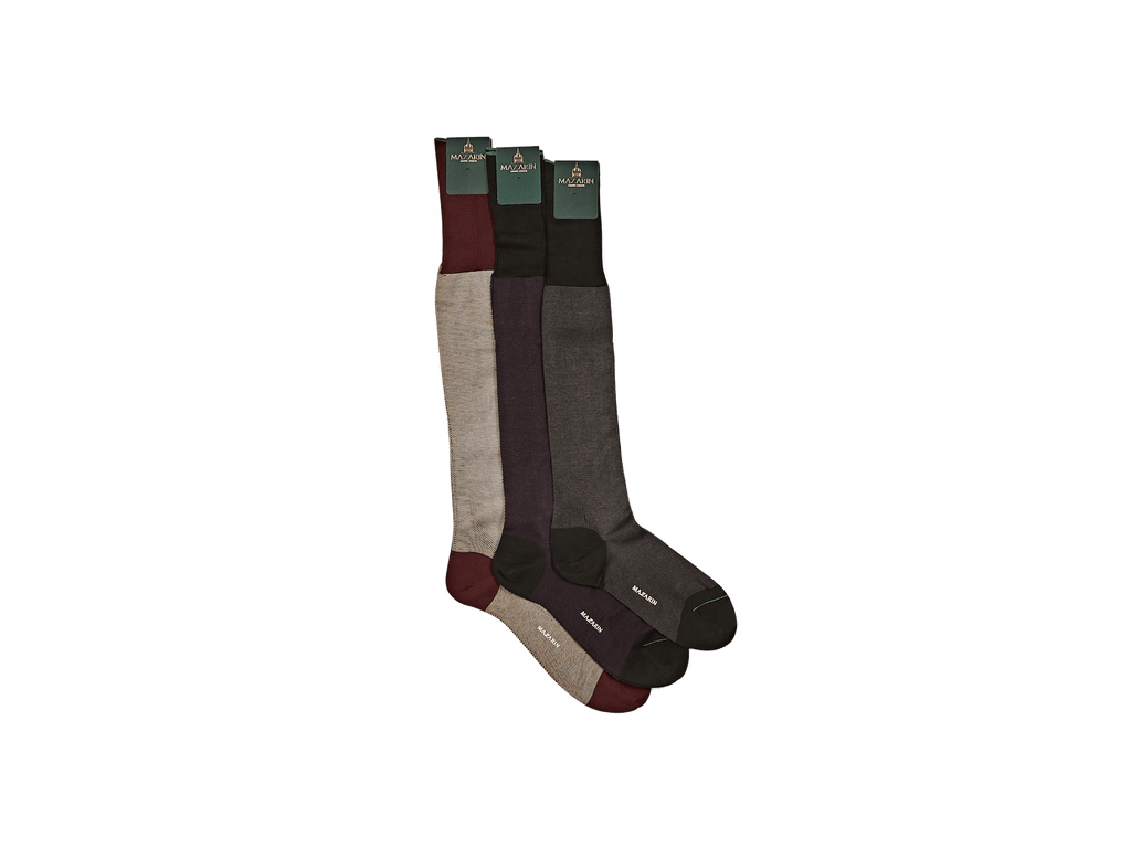 Luxe Socks in Burgundy and Beige Cotton (4377216548941)