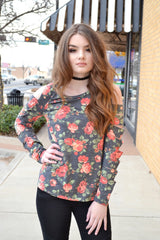 FANTASIA FLORAL SLIT SLEEVE TOP