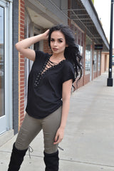 ROCK ON LACE UP TOP (BLACK)