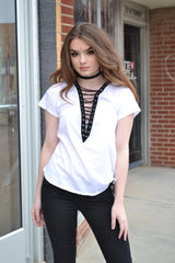 ROCK ON LACE UP TOP (WHITE)