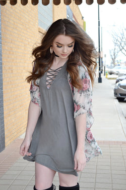 SPRING IN MY STEP OLIVE DRESS