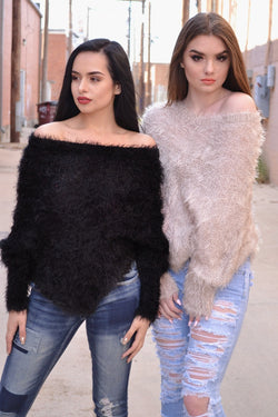 KARLIE SOFT & FUZZY SWEATER (BLACK)