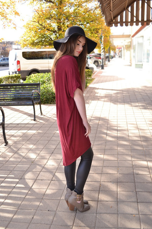 LORI HI LOW TUNIC (WINE)