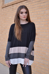 SINDI COLOR BLOCK TUNIC (CHARCOAL)
