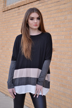 SINDI COLOR BLOCK TUNIC (BLACK)