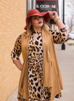 CALL ME WILD LEOPARD SHIFT DRESS (PLUS)